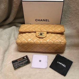 Chanel double flap cream Lambskin leather purse